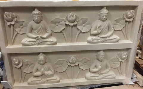 Four Buddhas Stone Wall Carving - Beyond Tile