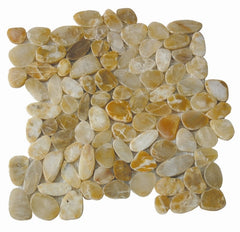 Golden Sliced Pebble Tile - Beyond Tile