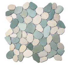 Green and White Sliced Pebble Tile - Beyond Tile