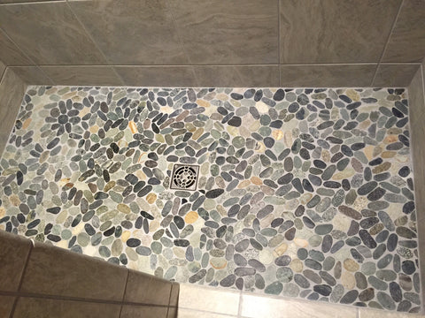 Bengal Sliced Pebble tile for pebble tile shower