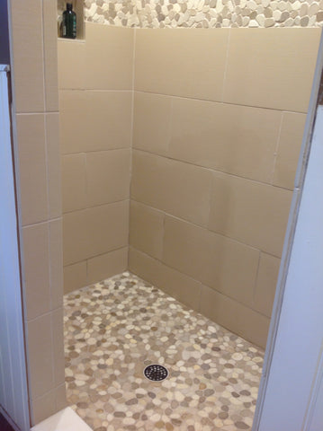 Tan and White Sliced Pebble Tile