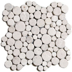 White Circle Pebble Tile - Beyond Tile