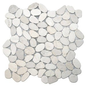 White Sliced Pebble Tile - Beyond Tile  - 1