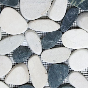 White and Black Sliced Pebble Tile - Beyond Tile  - 2