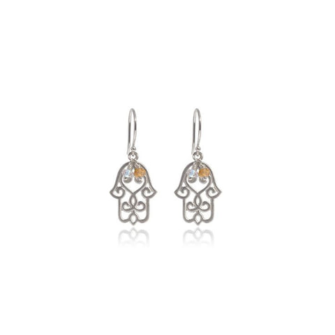 Hamsa Earrings • Citrine • Silver - Beyond Tile