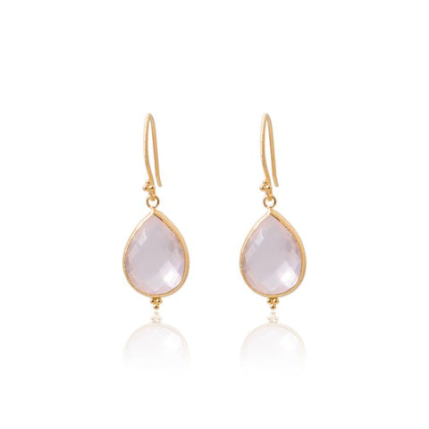 Amma Earrings • Rose Quartz • Gold Vermeil - Beyond Tile