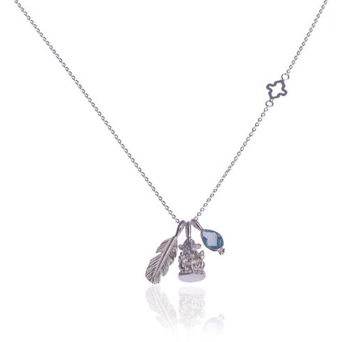 Hold my Hand Necklace • Blue Topaz • Silver - Beyond Tile