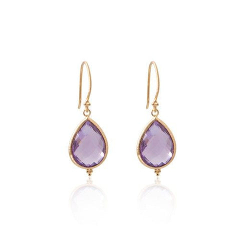 Amma Earrings • Amethyst • Gold Vermeil - Beyond Tile