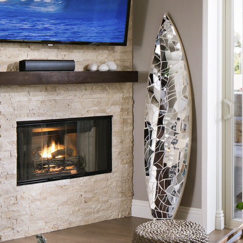Glass mirror mosaic surfboard - Solana Beach - Beyond Tile