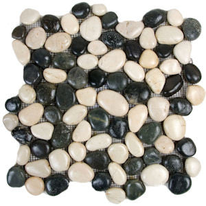 White and Black Polished Pebble Tile - Beyond Tile  - 1
