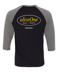 aliveOne Unisex Three-Quarter Sleeve (Black)