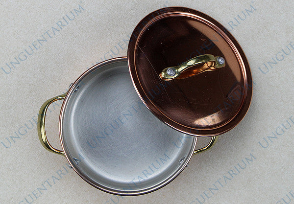 Copper Casserole, tinned with two brass handles Ø12cm, picture 01