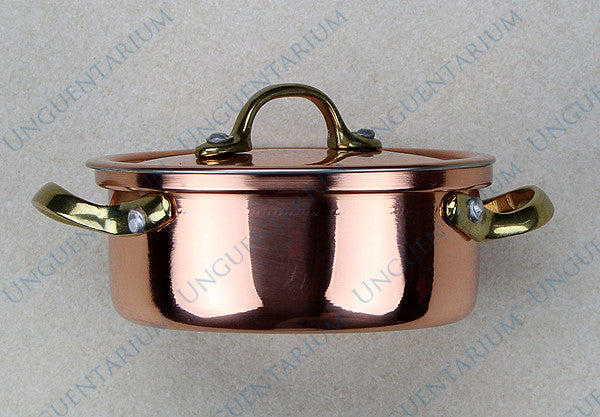 Copper Casserole, tinned with two brass handles Ø10cm, picture 03
