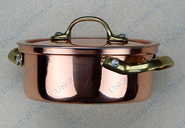 Copper Casserole, tinned with two brass handles Ø10cm, picture 04