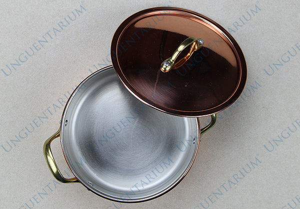 Copper Casserole, tinned with two brass handles Ø14cm, picture 1