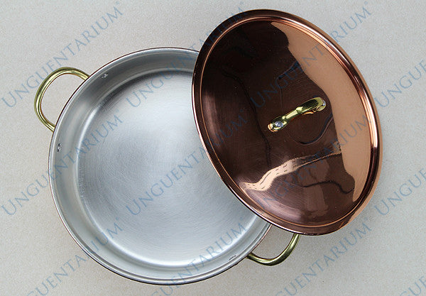 Copper Casserole, tinned with two brass handles Ø22cm, picture 01