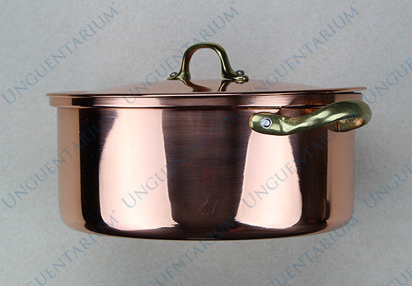 Copper Casserole, tinned with two brass handles Ø22cm, picture 03