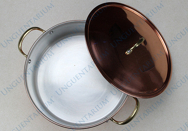 Copper Casserole, tinned with two brass handles Ø30cm, picture 01