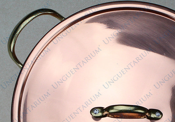 Copper Casserole, tinned with two brass handles Ø30cm, detail 01