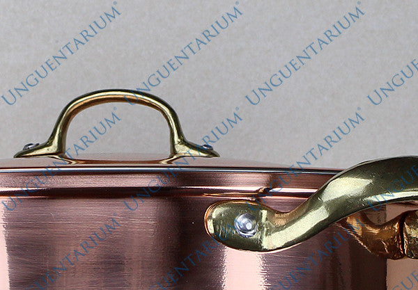 Copper Casserole, tinned with two brass handles Ø30cm, detail 02