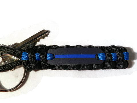 Thin Blue Line Paracord Keychain