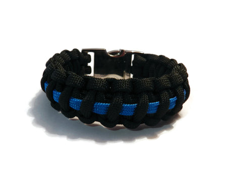 Thin Blue Line 550 Paracord bracelet with metal clasp
