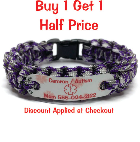 Autism Medical Alert Bracelet w/Phone#