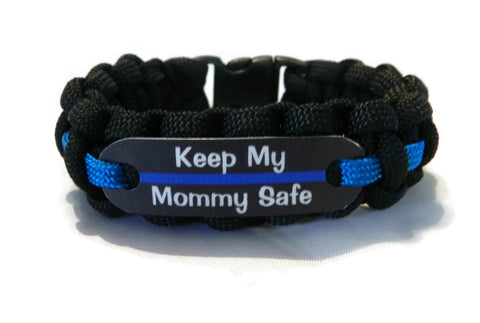 Keep my Mommy Safe Thin Blue Line Bracelet