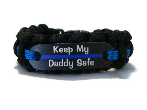 Keep my Daddy Safe Thin Blue Line Bracelet