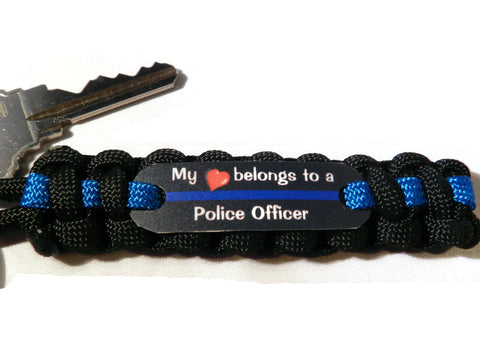 My Heart belongs to a Police Officer paracord bracelet keychain