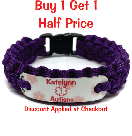 Autism Medical Alert Bracelet w/Name