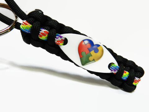Autism Puzzle Heart Paracord Key chain