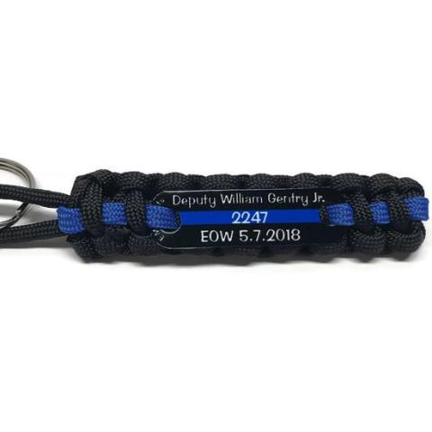 Deputy William Gentry Jr EOW Thin Blue Line Paracord keychain
