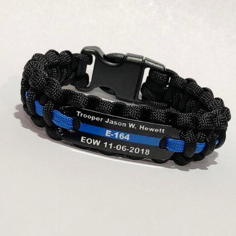 Trooper Jason W. Hewett EOW Thin Blue Line Paracord Bracelet Special Offer