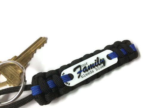 Family Bleeds Blue Thin Blue Line Paracord Key Chain