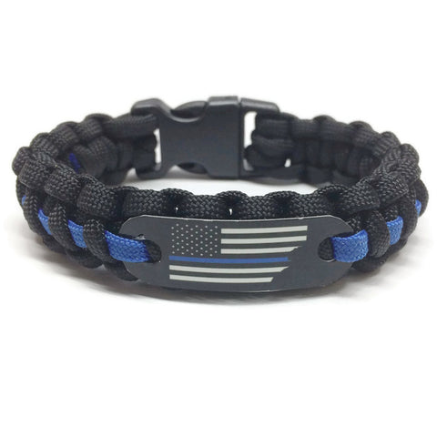 Thin blue line american flag paracord bracelet