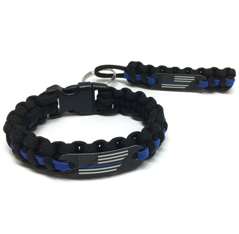 Support Police Thin Blue Line American Flag Bracelet and Key Chain Special Offer