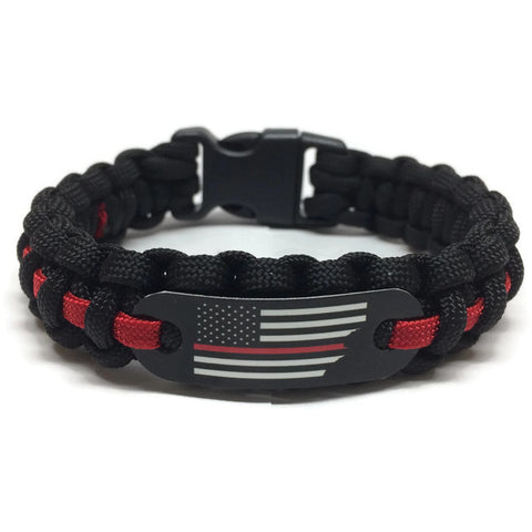 Support Firefighters Thin Red Line American Flag Paracord Bracelet