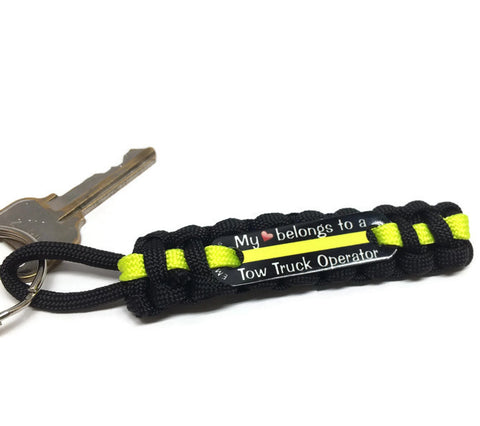 Love A Tow Truck Operator Key Chain Black w/Yellow Line
