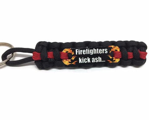 Firefighter Kick Ash Thin Red Line Paracord Key Chain