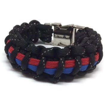 Police / FF Dual Role Reflective Thin Line  Paracord Bracelet w Metal Clasp