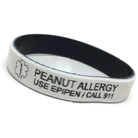 Peanut Allergy Use EpiPen/Call 911 Silicone Medical Alert Bracelet