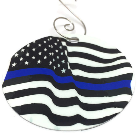 Blue Line American Flag Christmas Tree Ornament Christmas in July Sale