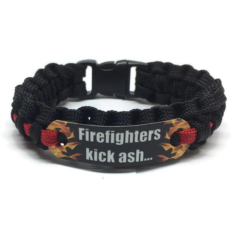 Firefighters Kick Ash Thin Red Line Paracord Bracelet