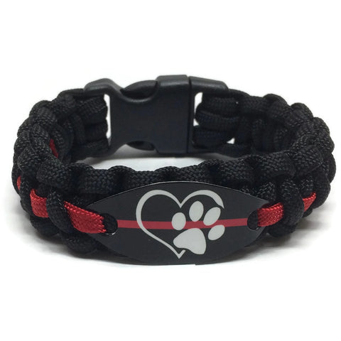 Firefighter Dog Lover Thin Red Line Paracord Bracelet