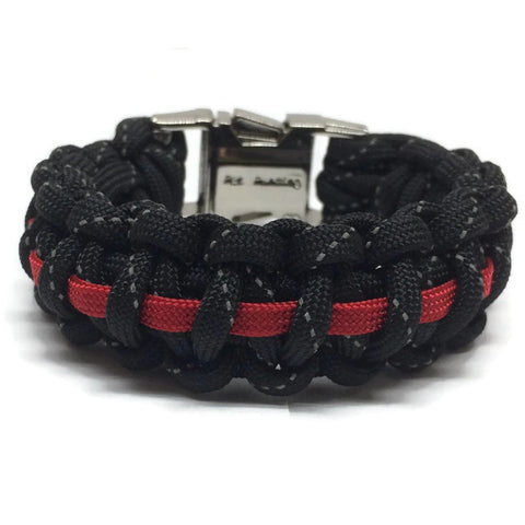 Firefighter's Reflective Thin Red Line Bracelet with metal clasp