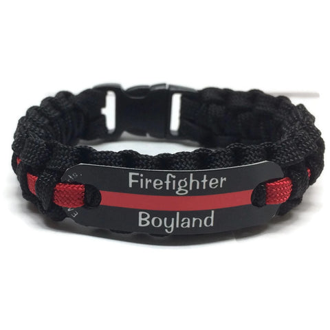 Personalized Firefighter Thin Red Line Paracord Bracelet