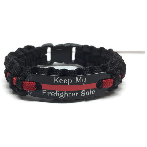 Keep My Firefighter Safe Thin Red Line Paracord Bracelet