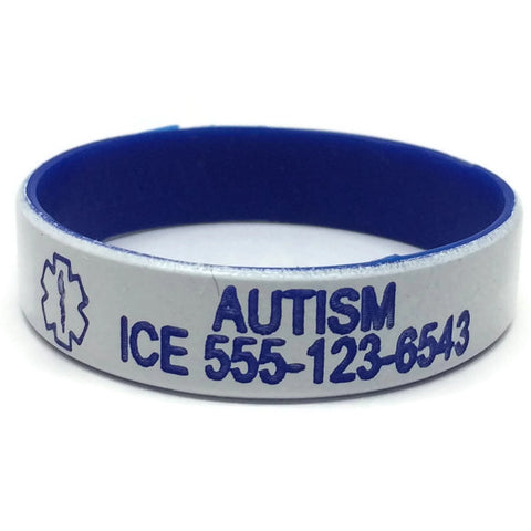 Autism with Phone# Silicone Medical Alert Bracelet