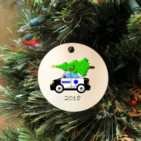 2018 Sheriff Car with Christmas Tree Ornament